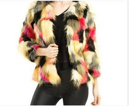 Winter Fashion Luxury Faux Fur Coat Mix Color Long Sleeve Female Shaggy Jacket Slim Long Fur Fourrure Female Parkas FREE SHIPPING