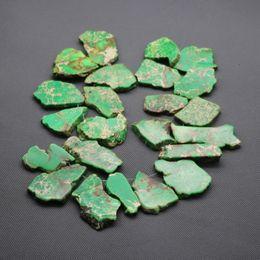 Free Shipping Top Quality Natural Green Gemstone Bead Original Emperor Stone Freeform Imperial Jasper Beads Slice Beaded Bracelet Wholesale