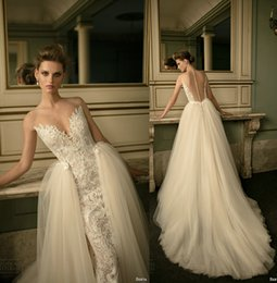 Wholesale Short Skirt Zipper Front - 2016 berta bridal over skirts wedding dresses sheath ball gown lace embroidered sheer sweetheart neckline wedding gowns