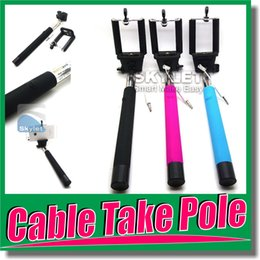 Wholesale Z07 Plus Extendable Monopod with groove Selfie Stick Rod Wired Audio Cable Take Pole for Iphone iOS Android Pieces DHL