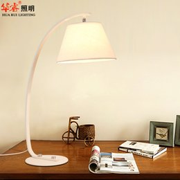 Wholesale creative wrought iron art table lamps fabric lampshade desk lights white black office desk living room lamps night light
