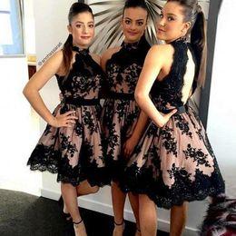 Black Lace Short Bridesmaid Dresses A Line backless High Neck Vestido De Novia Wedding Party Homecoming Gowns