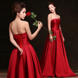 Simple Elegant Strapless Sleeveless Satin Red Long Evening Dress 2015 New Arrival Bow Formal Dresses 2016