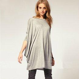 Wholesale Plus Size XL New Women Batwing Sleeve Oversized T Shirt Loose Long Top Blusas Big Yard Shirt Dress Black Gray Dropshipping