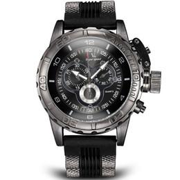 La montre-bracelet pour hommes en Ligne-Vogue Mode V6 3D surface Case Luxe Noir Homme Heure Horloge Analogique Militaire Homme Business Casual Montre-bracelet
