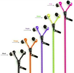 Metal Zipper Headset Earphones 3.5MM Jack Bass Earbuds In-Ear Zip Earphone Headphone with MIC for Iphone Samsung MP3 MP4 1000pc