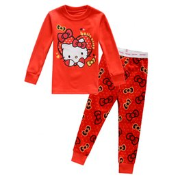 Wholesale Cotton Red Pajamas For Kids - Sweet Girls Red Pajamas Cartoon Kitty Printed Kids Clothing Sets Long Sleeve Round Collar Leisure Wear For Children 2-7Age K955
