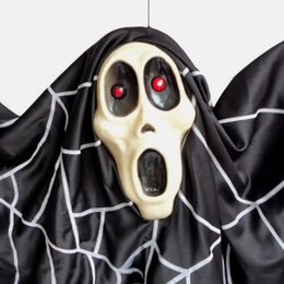 Wholesale Halloween Supplies Haunted House Props Black Ghost Bats Plastic Sound Voice Control Activated Light Hanging Ghost Electric Toys