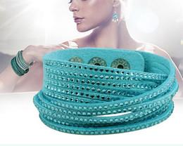 Bracelet rope men women leather velvet rhinestone-studded bracelets Tennis ID rope wrap cuff multilayers wristband charm jewelry EMS