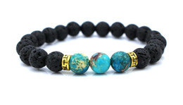 Wholesale New Products Lava Stone Beads Natural Stone Bracelet Men Jewelry Stretch Yoga Bracelet