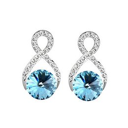 Eight Shape Crystal Stud Earrings High Quality Austrian Crystal Zircon Earrings For Women Best Gift Jewelry Free Shipping 8229