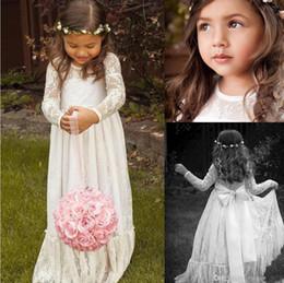 Sheer Lace Neck Flower Girl Dresses Long Sleeve Floor Length Ruffles Ivory Flowergirl Dresses Bow Sash Bohemian Wedding Gowns for Kids