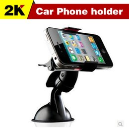 Wholesale degree Car Windshield Mount cell mobile phone Holder Bracket stands for iPhone5 S for samsung Smartphone