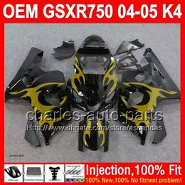 7gifts+Injection For SUZUKI GSXR750 Gold flames GSX-R750 04 05 GSXR 750 K4 5L156 GSX R750 04-05 Golden blk GSXR-750 2004 2005 Fairing Kit