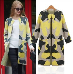 Womens Cardigan Clothing 2015 New Winter Loose Long Knitted Sweater Coat Print Wool Cashmere Sweaters Woman European Style Coats