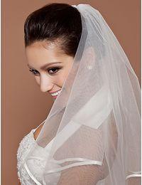 Actual White Ivory Bridal Wedding Veils Two-tier Tulle Elbow Wedding Veils With Ribbon Edge In Stock Wedding Veils