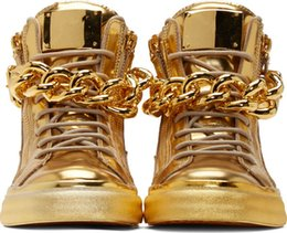 Wholesale Top Brand Designer Zapatos Hombre Round Toe Men Hip Hop Sneakers Gold Chains Men Casual Shoes High Top Sneakers XZ06