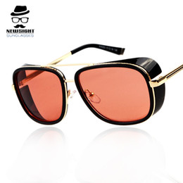 Fashion Sunglasses Men Steampunk High Quality Iron Man Style Sunglass Vintage Metal Frame oculos de sol Sun Glasses Eyewear