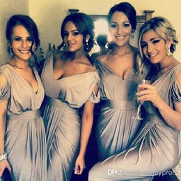 2015 Hot Sale Bridesmaid Dresses Silver Gray chiffon V-neck Cap Sleeves sheath Cheap Maid of Honor Dresses Prom Gowns evening Gowns plus siz