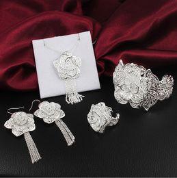 925 ensembles de mariée à vendre-Mode New Argent 925 Sterling Parures personnalité Fleurs Bracelet Collier Bague Boucle Parures de mariée Parures