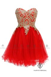 HarveyBridal Sweetheart Gold Lace Crystal Red Homecoming Dresses Short Ball Gown Lace Up Back Mini Length Prom Dresses Vestido de fiesta