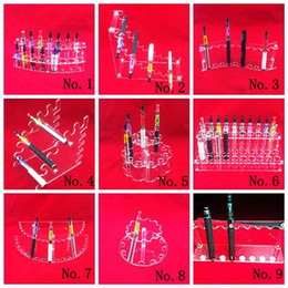 Wholesale Acrylic e cig Display Case Stand Electronic Cigarette Stand Shelf Holder Rack for e cigarette e cig ego Battery Vaporizer ecigs MOD Drip Tip