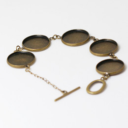 Wholesale Beadsnice bezel tray bracelet bulk bracelet bases brass blank bezel settings for mm round glass cabochon resin etc ID