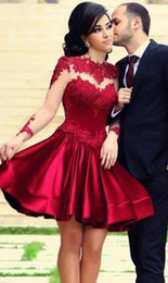 2019 Cocktail Short Prom Dresses A Line Satin Evening Homecoming Dresses Gowns Jewel Long Sleeve Lace Applique Graduation Party Dress