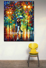 Romantic Lovers Date in Night Park-Modern 100% Handpainted Oil Painting Canvas Wall Hangings for Hotel Office Home Decor Wall Art