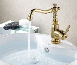 Wholesale Hot Sale Promotion Waterfall Bathroom Golden Faucet Single Handle Vanity Sink Mixer Tap Deck Mount G1047