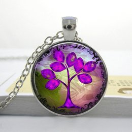Wholesale Purple Pink Tree Necklace Glass Art Picture Pendant Necklace Photo Pendant Handcrafted Jewelry