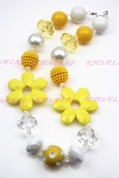 Yellow Sunflower Girls Chunky Girls Big Bead Girls Necklace Chunky Bubblegum Necklace for kids CB236