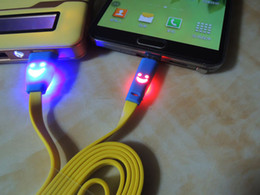 1m 3ft Visible Led Light Smile Face Flat Noodle Micro USB Data Sync Charger Cable Adapter For Samsung Galaxy s4 s3 LG HTC Nokia US013