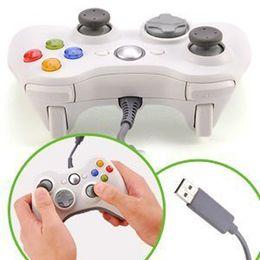 USB Blanco Wired Game Controller Gamepad Joypad Joystick Para Delgado accesorios Xbox 360 PC de la computadora Para Windows 7 Envío Gratis orden $ 18Nadie trac cheap joystick xbox white desde blanco xbox palanca de mando proveedores