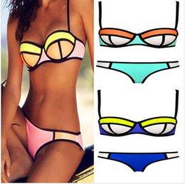 Wholesale 2015 color set bottom top women Bandage bras swimsuit zipper bikini swimsuit swimwear neoprene push up padded bikini BBB2117