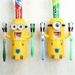 Wholesale Cartoon Toothpaste Sale - hot sale Despicable Me Minions Design Set Cartoon Toothbrush Holder Automatic Toothpaste Dispenser with Brush Cup for christmas gift D415