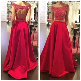 Red Two Pieces Evening Dresses Formal Off Shoulder A line Satin Fabric Party Prom Dress Custom made Hot Sleeveless Backless Beaded Special