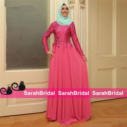 Wholesale Vestidos Longo with Appliques Beads Muslim Dresses Party Evening Hijab Long Formal Wear Women Gowns Chiffon Kaftans Dubai Turkey Robe Soiree
