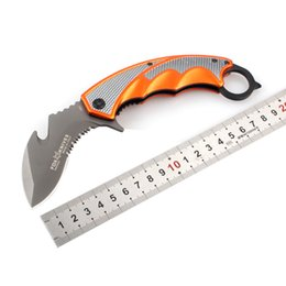 Fox karambit claw knife folding pocket knives serrated machete knives 5CR15Mov 57HRC outdoor camping fast open survival knife