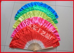 Wholesale Short Dancing Fans Folk Art Fan Chinese Style Belly Dance Silk Fans Bamboo Frame Hand Fan