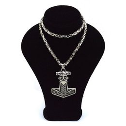 Wholesale Hot Selling L Stainless Steel Viking Necklace with Pendant Thor s Hammer Skull with Horns Pendant Necklace