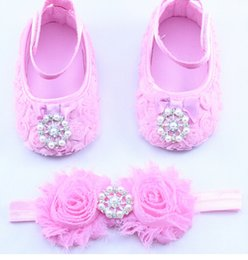 Pearl inlay diamond headband baby foot ornaments wholesale diy flower head flower baby shoes baby shoes really12set
