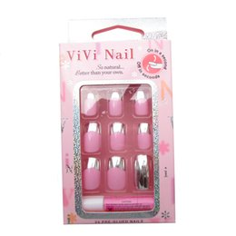 Wholesale Hot Sale Sizes Metal Nail Art Tips ABS Full Cover Sliver Metallic Nails Fashion French Nail Tips