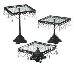 Wholesale Crystal glass iron black color cake pan cake stand dessert table wedding supplies