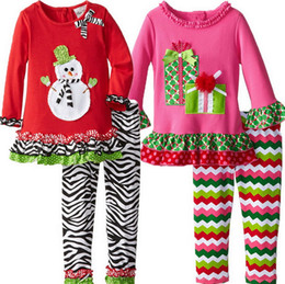 Wholesale 2015 chevron Children Girls Boutique Outfits Clothing Sets Christmas Santa Long Sleeve Tops striped Ruffle Pants Suits