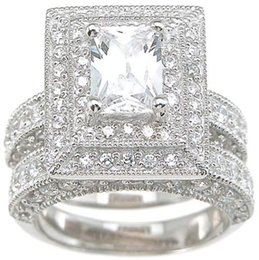Professional Wholesale Vintage Jewelry Topaz Simulated Diamond 14KT White Gold Filled 3-in-1 Wedding Ring Set for christmas gift Sz 5-11
