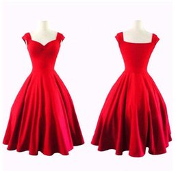 Wholesale Audrey Hepburn Style s s Vintage Pure Color Women Casual Dresses Inspired Rockabilly Swing Evening Party Dresses for Women Plus Size