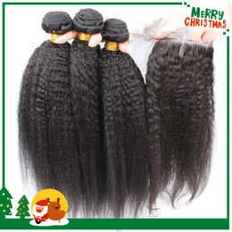 Brazilian Virgin Hair Coarse Yaki With Closure 4x4 Kinky Straight 3 Hair Bundles With Lace Closure Italian Yaki Closure With Human Hair Weft