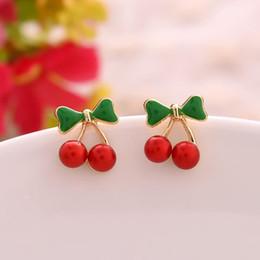 Stud Earrings Wholesale Promotion Fashion 18K Gold Plated Korean Red Cherry Crystal Rhinestone Leaf Drop Earrings Women Statement Earrings