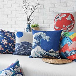 Free shipping sea fan Japanese landscape 43 * 43 cotton hold pillow case flower cushion for leaning on